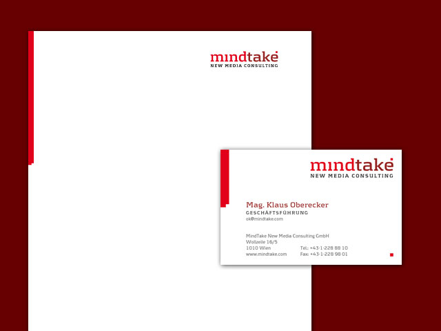 mindtake corporate design briefpapier und visitenkarte
