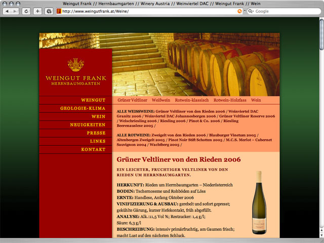 web-design weingut frank winery