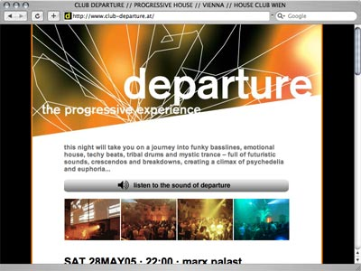 webdesign departure progressive house club