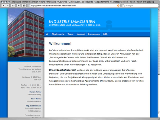 webdesign industrie immobilien