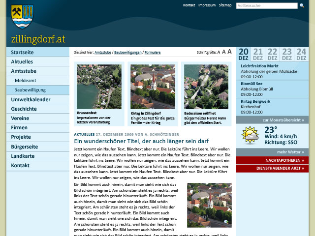 zillingdorf website design